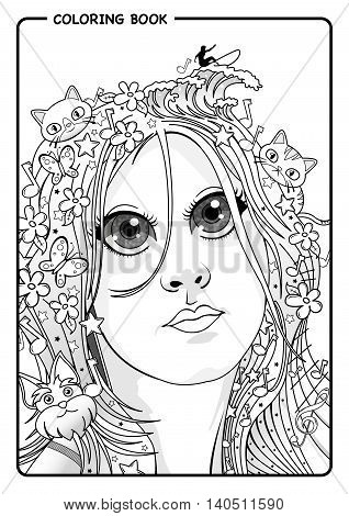 Portrait of young woman who loves nature, animals, music and surfing - Coloring Book
