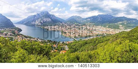 Picturesque panoramic aerial view of Lake Como and Lecco city Lombardy province Italy
