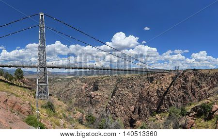 Royal Gorge Bridge over the Arkansas River in Colorado - Stitched from five images