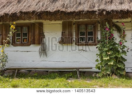 Rural architecture window. Windows on old wooden house