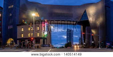 CALGARY, CANADA - July 15: Studio Bell, home of the National Music Centre on July 15, 2016 in Calgary, Alberta. The National Music Centre is a major new music venue and museum in Calgary.