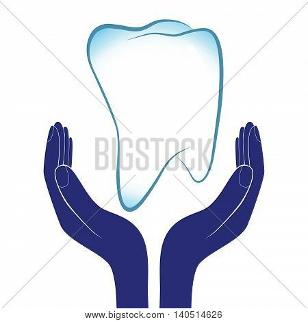 Dental care vector illustration. People hands encourage tooth health medicine.