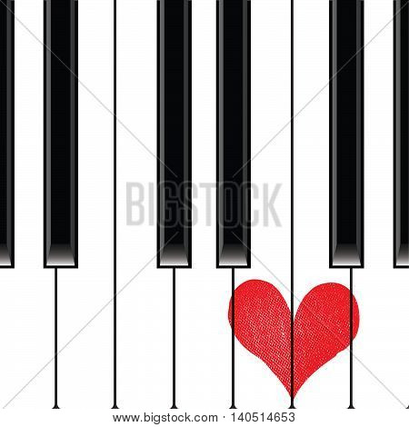 Heart love music piano playing a song for valentine day vector background.