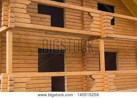 Facade of a house under construction from