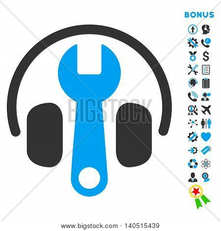 Headphones Tuning icon with bonus pictograms. Glyph style is bicolor flat iconic symbol with rounded angles, blue and gray colors, white background.