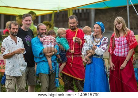 GRISHINO, RUSSIA - JUL 30, 2016: Residents of ecovillage. As an alternative to industrial civilization, they offer life in small communities with minimal impact on nature, from 50 to 150 inhabitants.