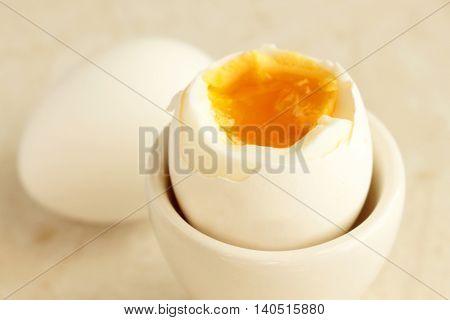 The boiled egg for breakfast on the white background