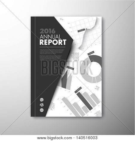 Modern Vector annual brochure, report or flyer design template with infographic graphs and charts - black and white version