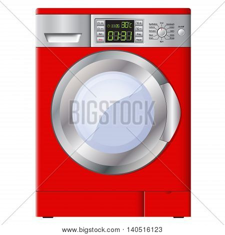 Red washing machine on a white background. Isolated. Vector Image.