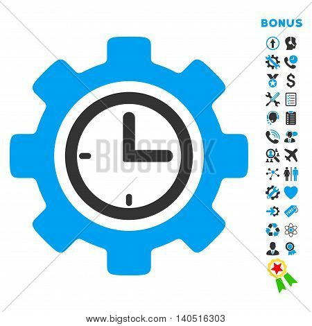 Time Setup icon with bonus pictograms. Glyph style is bicolor flat iconic symbol with rounded angles, blue and gray colors, white background.