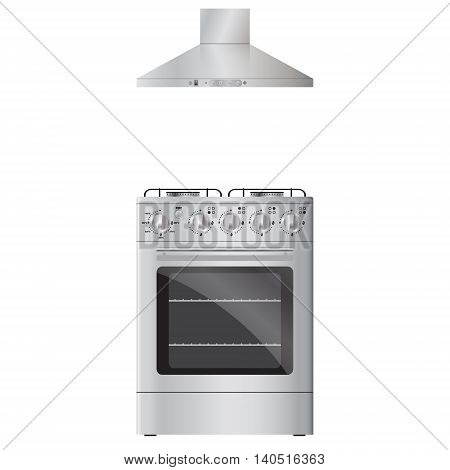 Gas stove and hood. Vector realistic image. Isolated on white background.
