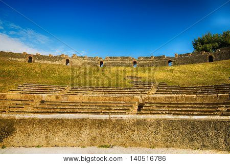 Ruins of the Amphitheater in Pompeii , Italy