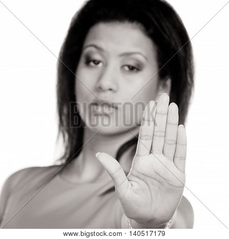 Mixed Race Woman Showing Stop Sign Gesture.