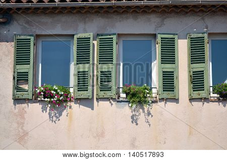 traditional old french facade in antibes france