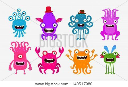 Set cheerful and terrible monsters, ghosts, aliens. Vector illustration