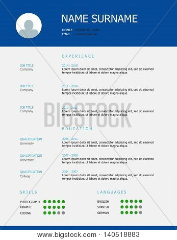 Resume / Cv Template Design Blue Green Teal Headings