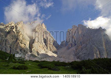 Trekking in the Dolomites Cristallo Group, Italy