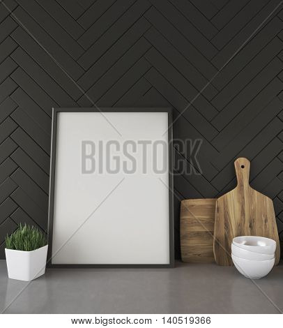 Kitchen Counter With Picture And Black Wall