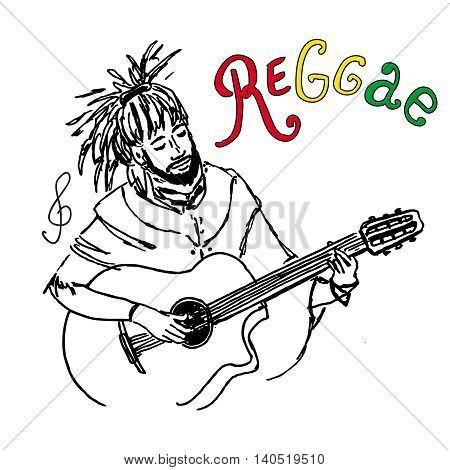 Vector Illustration Of Rastaman Playing Guitar. Cute Rastafarian Guy With Dreadlocks. Hand-drawn. Is