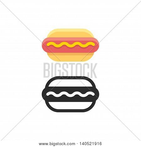 Hot dog icon sausage with mustard on bun. Flat cartoon colors and black outline. Isolated vector illustration.