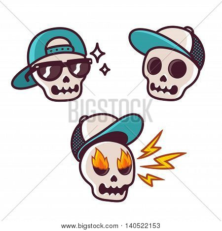 Set of funny cartoon skull character in baseball cap. Cool skull with sunglasses angry with flame in eyes. Sticker collection.