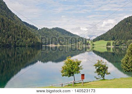 Hintersteiner See, mountain lake in the nature reserve Wilder Kaiser, Tirol, austria