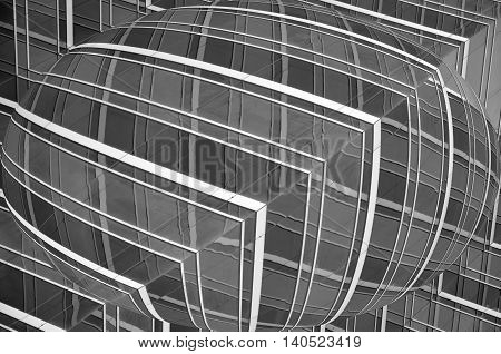 Spherical black and white striped geometric pattern