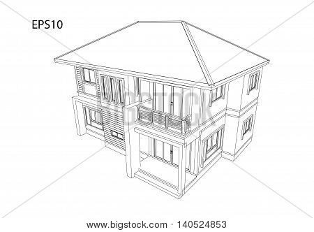 3D render illustration drawing design plan house isolated white background