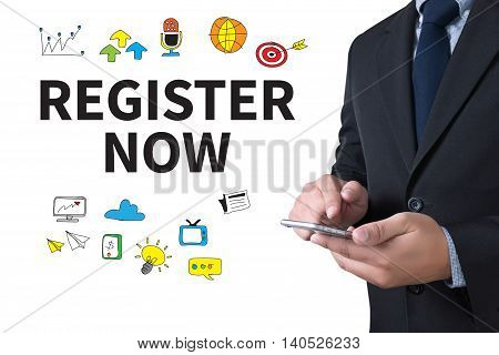 REGISTER NOW businessman working use smartphone computer top