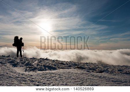 Winter clouds on the ridge of Veľká Fatra mountains Western Carpathians Slovakia.
