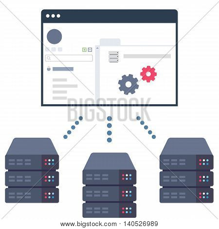 Vector Illustration of a Software Solution which Allows Users to Control Their Server Equipment in Data Centers