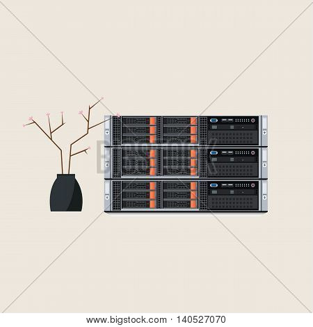 Conceptual Vector Illustration of a Hosting Equipment with Flower Vase Depicting that Everything is Working Well and without Crashes