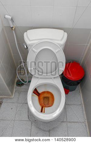Toilet dirty, Rusty water in public toilet  bowl