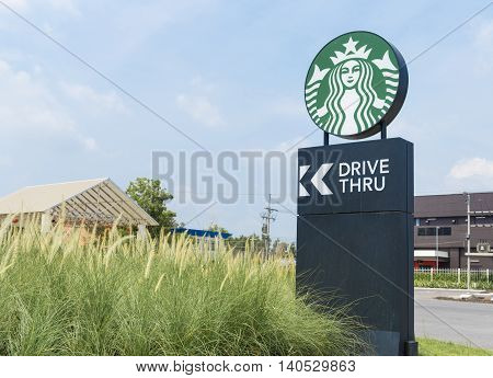Bangkok Thailand - May 9 2016: Signs of a drive-through Starbucks stores in the country. Starbucks brand is one of the world famous from USA.