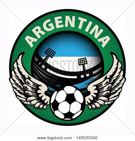 Label with football and name Argentina, vector illustration