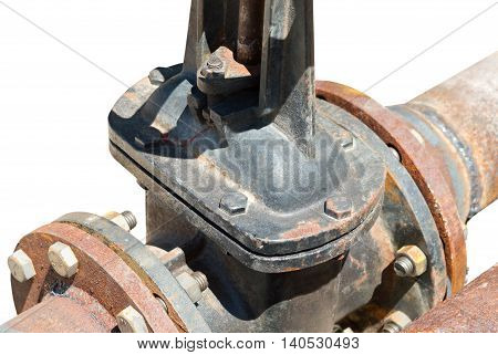 the old Pipes and Valves on white background