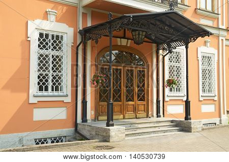Beautiful black porch at the entrance to the Church building.