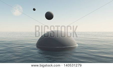 Alien spaceships descending to water of the Earth sea. UFO spheres flying from the Moon 3D illustration