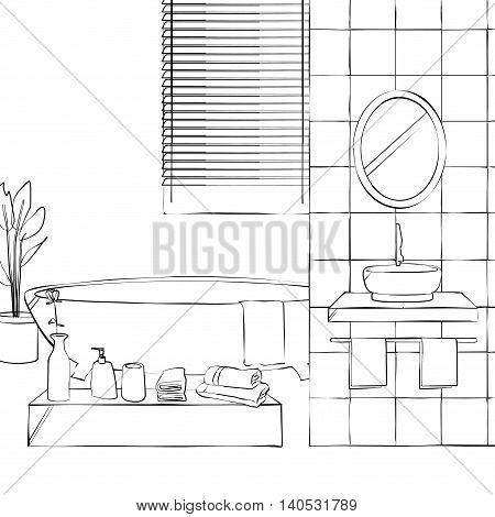 bathroom interior a bathroom with a bathtub and bath amenities