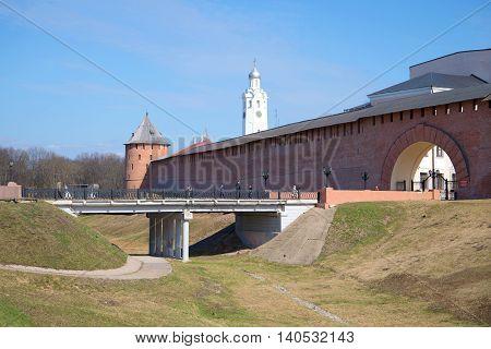 VELIKIY NOVGOROD, RUSSIA - APRIL 13, 2016: At the entrance to the Kremlin of Veliky Novgorod, sunny april day. Historical landmark of the city Veliky Novgorod