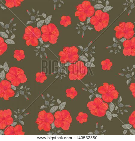 Hibiscus Flower Seamless Pattern . Summer Ornament. Gypsy Stile. Vector Background .