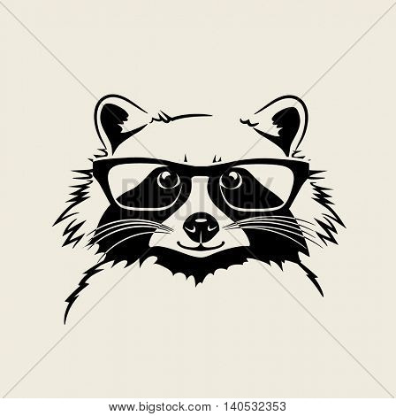 funny cute vector illustration of a raccoon. For t-shirt, poster, print design
