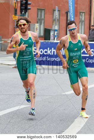 STOCKHOLM - JUL 02 2016: Running australian triathletes Birtwistle and Wilson in a curve in the Men's ITU World Triathlon series event July 02 2016 in Stockholm Sweden