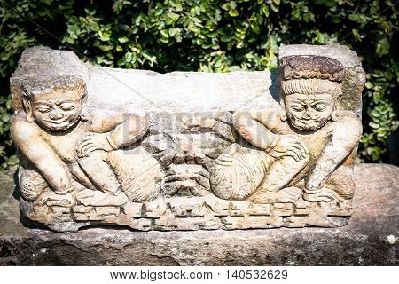 Artistic Nepalese Sculpture of god made in stone.
