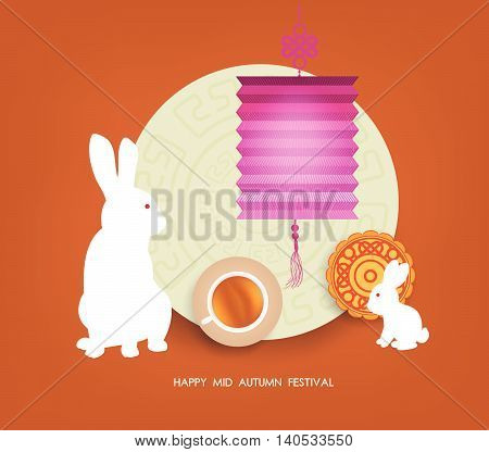 Mid Autumn Lantern Festival  background with moon cake, tea and rabbit. Happy Mid Autumn Festival