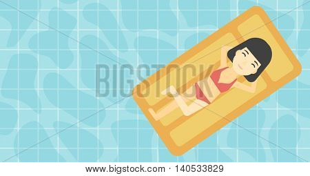 An asian woman relaxing on the air bed in the swimming pool. An asian woman enjoying her vacation. Vector flat design illustration. Horizontal layout.