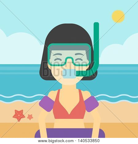 An asian woman in mask, tube and rubber ring standing on the background of beach and sea. Woman wearing snorkeling equipment on the beach. Vector flat design illustration. Square layout.