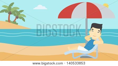 An asian man sitting in a chaise longue on the beach. An asian man relaxing while sitting under umbrella on the beach. Vector flat design illustration. Horizontal layout.