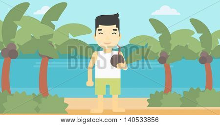 An asian man with a coconut cocktail on the beach. Man drinking a coconut cocktail on the beach. Man enjoying his vacation. Vector flat design illustration. Horizontal layout.