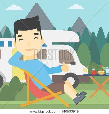 An asian man sitting in a folding chair and giving thumb up on the background of camper van. Man enjoying vacation in camper van. Vector flat design illustration. Square layout.